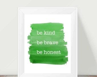 Boys Print, Green Boys Room Decor, 11x14 Inspirational Art for Boys,Inspirational Decor, Positive Message for Boys, Bravery, Honesty, Kind