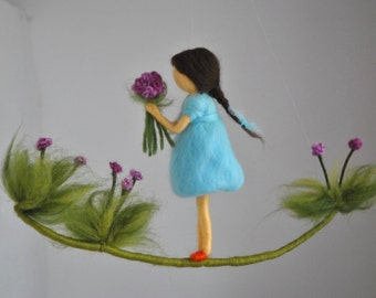 Room decor Wool mobile  Needle felted : Girl with Purple Flowers