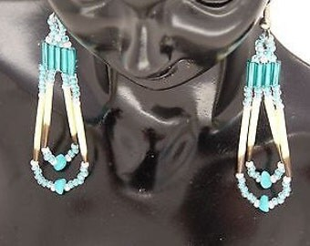 Turquoise -Mint Green & Pastel Pink-Beaded Porcupine Quill Earrings-Handmade-Surgical Steel Hook-Sterling Silver-Pierced Look Clip On