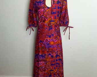 Vintage 1970s Windsmoor Psychadelic Maxi Dress