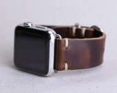 Apple Watch Band Horween Leather Nut Brown Dublin Silver