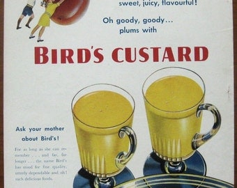 Birds, 1949, vintage, ad, original, custard, English, dessert, food, decoration, kitchen, nostalgic, free shipping, paper, ephemera