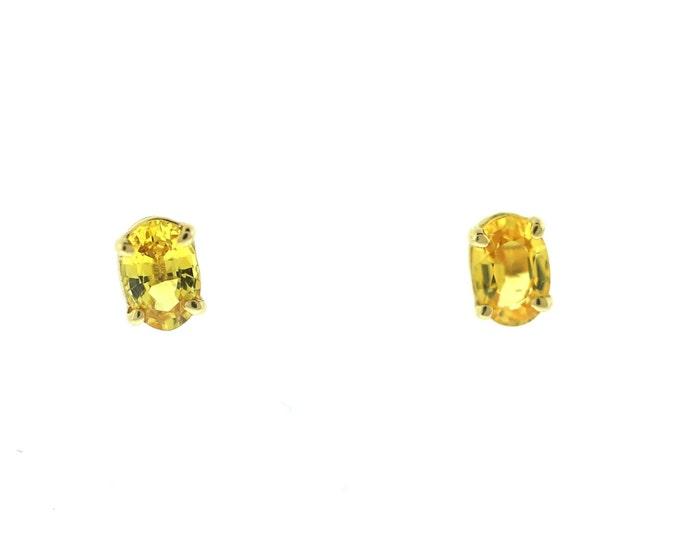 Yellow Sapphire Stud Earrings  14K White Gold Earrings Gemstone Earrings