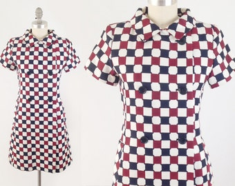 Vintage 60s Mod Checkerboard Dress - Geometric Scooter Dress - Short Sleeve Double Breasted A Line Shift Coat Dress - Size Small