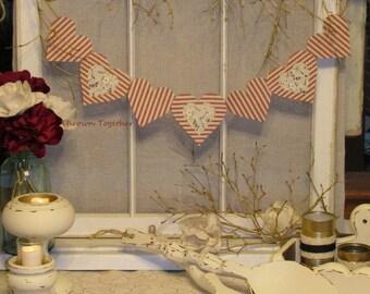 Primitive Hearts Valentine Banner, Wedding Banner, Valentine's Day Decor, Valentine's Day Banner, Rustic Wedding Decor, Primitive Valentine