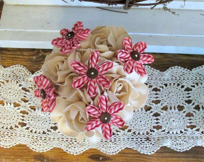 Rustic Wedding Bouquet, Natural Ivory Denim & Red Ticking Bouquet, Fabric Flower Bouquet, Farmhouse Centerpiece Flowers, Rustic Centerpiece