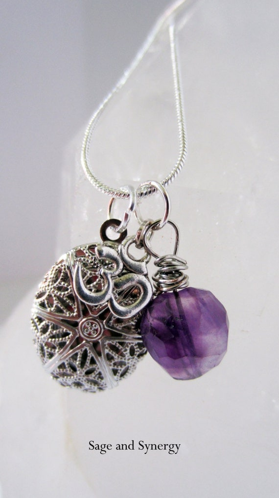 Oil Diffuser, Amethyst, Necklace, Silver, Womens Jewelry, Boho Jewelry, Purple Crystals, Amethyst, Sage and Synergy, Handmade