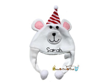 Personalized White Polar Bear Photo Prop Hat for Babies, Santa Hat, Elf Hat, Character Hat, Monogram Character Hats, Embroidered, add Name