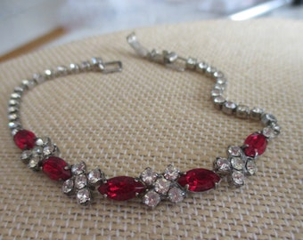 Vintage 1950's Red and Clear CZ Bracelet in a Rhinestone Silver Setting, Snap Down Closure, 7 Inches in Length, Holiday Rhinestone Bracelet