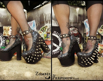 "Platform Studded ""Distortion"" Crystal Heels"