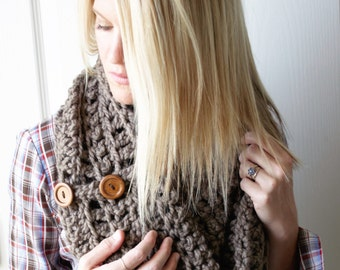 SALE Taupe Crochet Scarf Chunky Infinity Cowl