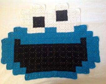 Sesame Street Cookie Monster 8-bit Pixel Blanket