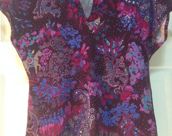 Vintage Floral Purple Multi Color Top small extra small S XS