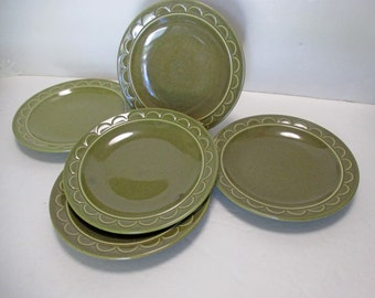 Homer Laughlin Sheffield Granada Green - Salad Plates Speckled - Set of 5