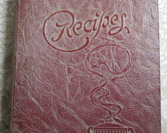 Vintage Red Leatherette 3-Ring Recipe Book from 1938