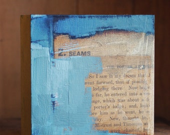 """tiny abstract composition #11  4x4 oil & collage on 1.5"""" artist panel"""