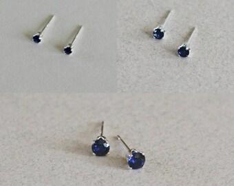 Sapphire Stud Earrings, Sapphire Studs, Small Studs, Small Stud Earrings, September Birthstone Studs, Blue Stud Earrings, Something Blue