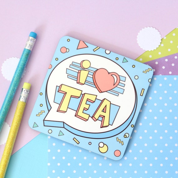 I Love Tea Coaster. Coaster Set. Tea Coaster. Tea Lover. Tea Drinker. I Love Tea. Tea Gifts. Tea Lover Gifts. 80's Pattern. Drink Tea