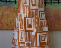 Vintage 1960s Alex Colman Dress / 1960s Mod Dress 1960s Pop Art Dress Day Dress Sundress / Geometric Print Textured Cotton / Mustard! / S
