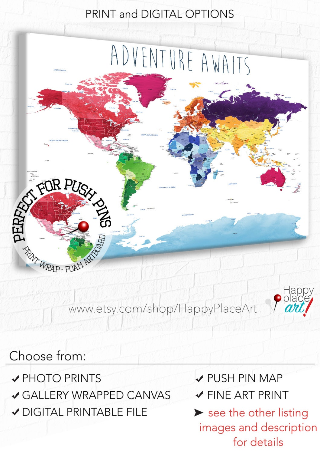 Push Pin Travel Map Etsy - Us travel map push pin