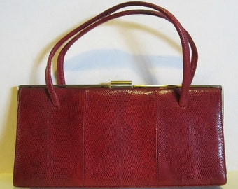 Lovely vintage red lizard skin leather bag, hinged purse; Marquessa, England