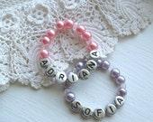 Newborn Bracelet Infant Jewelry Pearl Personalized Custom Name Baby Girl Pink Child