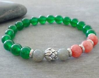 Yoga bracelet Jade bracelet Healing bracelet Womens yoga gift Sterling silver lotus bracelet Lotus flower Wrist mala beads Meditation beads