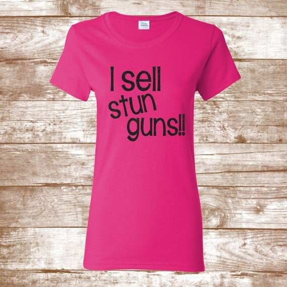 I sell stun guns pink shirt with black glitter print damsel for Selling shirts on etsy
