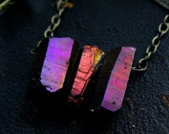 Power of Three : deep magenta/amber titanium aura crystal quartz necklace