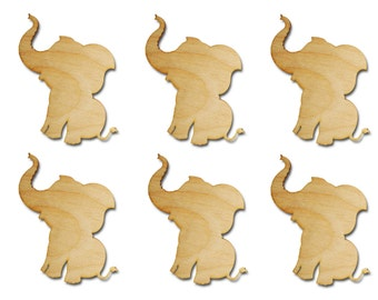 "Elephant Shape Unfinished Wood Animal Cut Outs 3"" Inch 6 Pieces ELEP03-06"