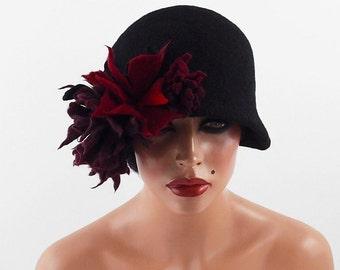 Felted Hat Cloche Hat Flapper hat  Black Hat LA BELLE EPOQUE Felt Hat Retro Hat Jazz wearable art art deco wool felt nunofelt nuno felt silk
