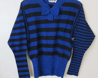 Sonia Rykiel Small size 38 Stripe Black and Cobalt Blue SweaterVintage Italy Paris Designer Sailor
