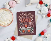 Christmas Cards - Love & Hot Cocoa Card - Boxed Card Set - Hot Cocoa Card - Winter Greeting - Holiday Cards - Hand Lettered Holiday