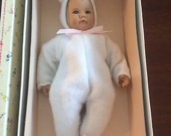 """Heidi Ott 12 Doll Little Ones Baby Bunny 8"""" Handmade Swiss Design 1992"""