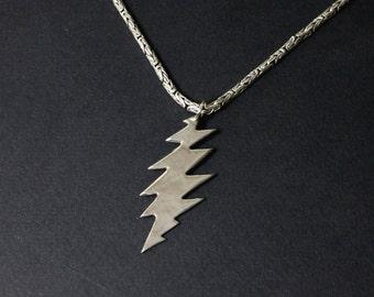 Thirteen Point Pendant Silver Grateful Dead Pendant Silver Thirteen Point Silver Bolt Pendant Handmade Jewelry 925 Silver Lightning Bolt