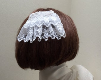 White Lace Head Covering, Bridal Kippah, Lace Doily