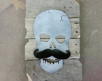 Skull and Mustache Pallet Sign