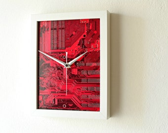 Modern Wall Clock - Unique Circuit Board Clock - Geometric Minimal Home Decor - Decor and Housewares - Dark Red Clock