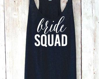 Bride Squad Tank Top. Bridesmaid Tank Top. Bridesmaid Tanks. Bridesmaid Shirts. Bride Shirt Bachelorette Party Shirts Eco White Font