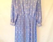 vintage 1980s ice blue dress large vintage dress 1980s 80s eighties dress light blue dress long-sleeved dress large size 16 dress