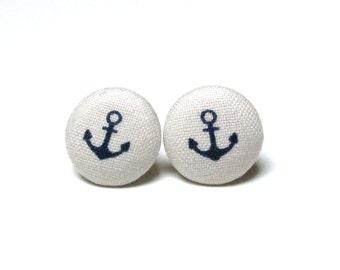 Navy stud earrings, anchor button earrings, beige surgical steel earrings, nickel free studs, nautical earring, navy wife girl, anker sale
