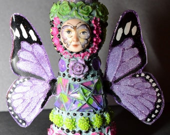 Pink, Purple, and Green Flutterfly Peg Doll