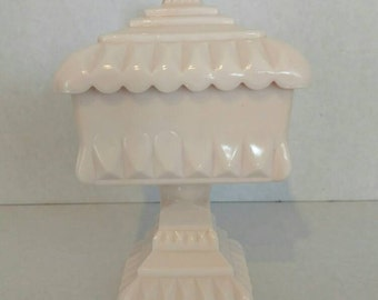 Vintage Milk Glass,Pink Milk Glass,Jeanette Shell Pink Compote