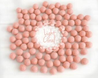 Wool Felt Balls - Size, Approx. 2CM - (18 - 20mm) - 25 Felt Balls Pack - Color Light Coral-4062- 2CM Coral Pom Poms - Coral Wool Felt Balls