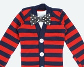 Baby Boy Cardigan and Bow Tie Onesies - Red Stripes with Grey Polka Dot Bow Tie -cardigan onesies