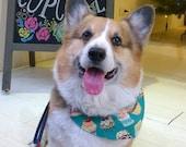 Dog bandana with green fairy cake & snowflake Cupcake cotton Snow flake fleece reversible  Slip on collar birthday party bandana   (L)