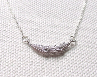 Dainty Feather Necklace Cute Charm Necklace Rhodium or Sterling Silver Chain Delicate Feather Jewelry