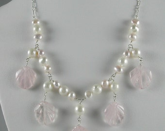 """16"""" One of a Kind Beaded Necklace with Pink Quartz Shells and Freshwater Pearls, Sterling Silver Wire and Chain."""