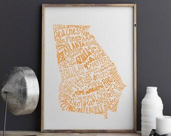 CUSTOM COLOR State of Georgia Typography Print; Wall Art and Decor; Christmas Gift; Wedding Anniversary Graduation Gift