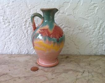 Vintage Art Pottery C C Cole, Charley Cole Pottery, 1940s Multi Colored Pottery Creamer, North Carolina Pottery, Polychrome Tourist Pottery